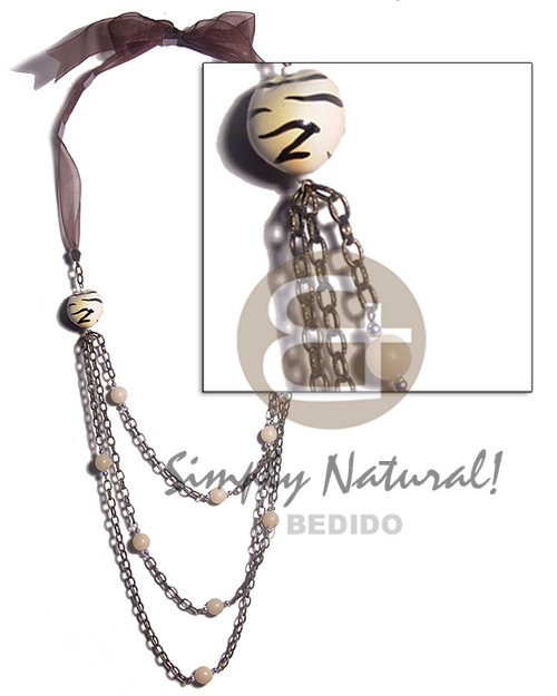 2pcs. tiger kukui nuts Womens Necklace
