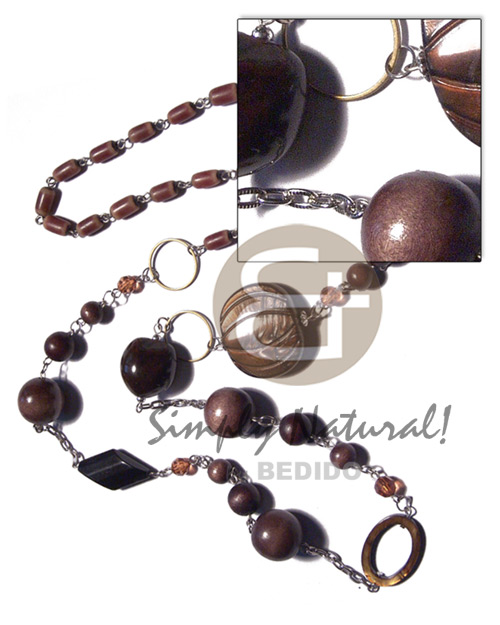 endless chain linked buri tube , round wood beads 18mm/12mm/8mm, brown kukui nuts and 35mmx30mm grooved laminated brown kabibe shell / 38in - Womens Necklace