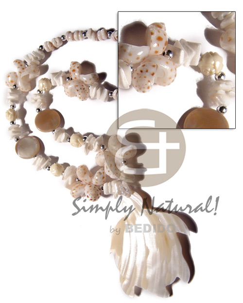 Tiger puka shells white Womens Necklace