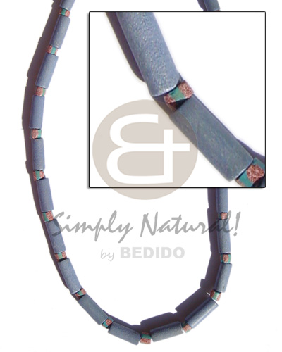 Pastel blue wood tube Womens Necklace
