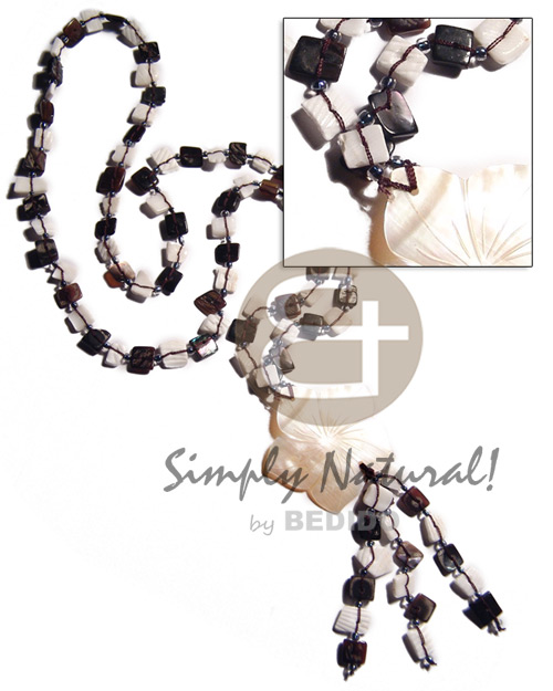 Black and white tassled floating Womens Necklace