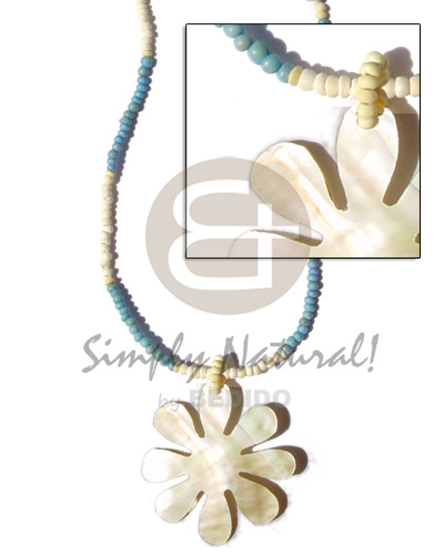 2-3mm coco pokalet pastel yelloblue bleached Womens Necklace