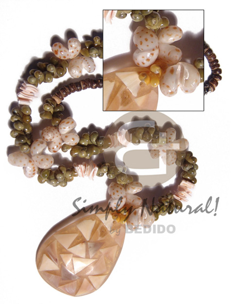 4-5mm natural brown coco pokalet Womens Necklace