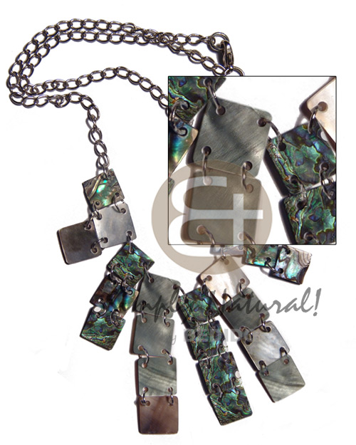 10mm paua/blacklip squares in metal chain - Womens Necklace