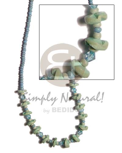 hand made Pastel blue coco pokalet Womens Necklace