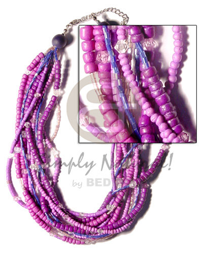 Multi layered lavender graduated tones Womens Necklace