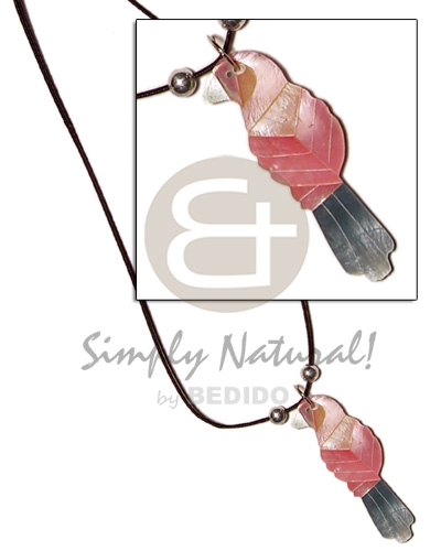 Cord inlaid hammershell pink Womens Necklace