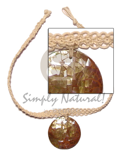 Macrame choker round brown Womens Necklace
