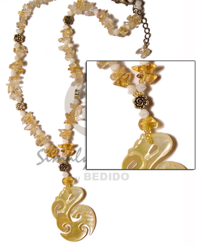 Clear stone crystals in yellow Womens Necklace