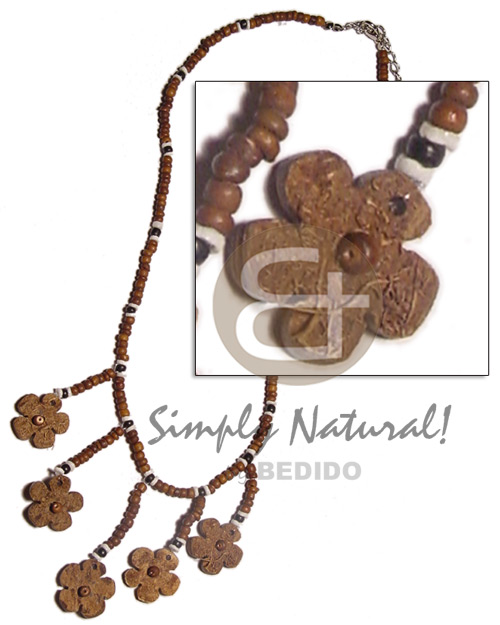 2-3mm coco pokalet. natural brown Womens Necklace