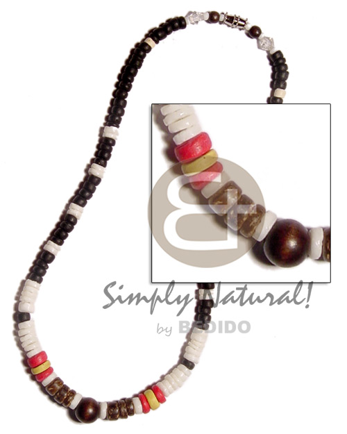 White clam heishe black red Womens Necklace