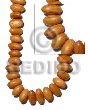 Bayong oval nuggets sidedrill 12mmx22mm Wood Beads