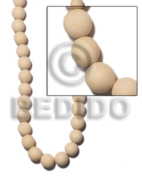 nat. white wood rounds beads 15mm - Wood Beads