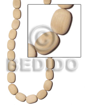 Natural white wood flat oval Wood Beads
