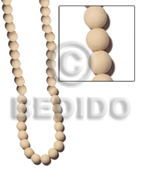 6-7mm natural white round wood Wood Beads