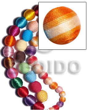 20mm natural white round wood beads wrapped in orange two toned crochet thread/ price per piece - Wood Beads