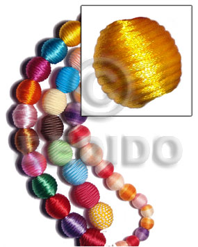 20mm natural white round wood beads wrapped in golden yellow china cord / price per piece - Wood Beads
