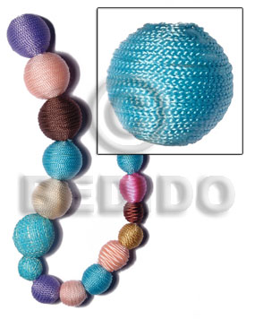 20mm natural white round wood beads wrapped in aqua blue tiny cord / price per piece - Wood Beads