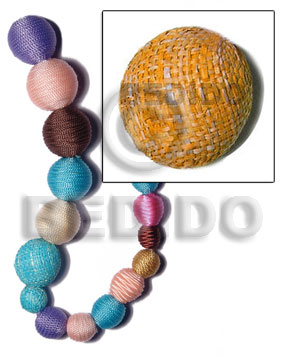 20mm natural white round wood beads wrapped in orange raffia / price per piece - Wood Beads