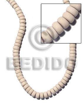 7-8mm nat. white wood pokalet - Wood Beads