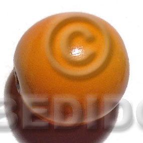 25mm nat. wood beads  in high gloss paint / orange / 15 pcs - Wood Beads