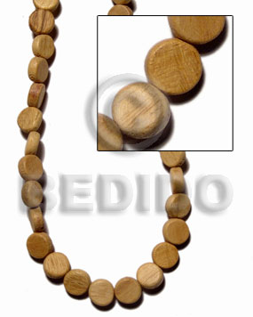"""nangka"" sidedrill flat disc 5x10mm / 44 pcs. per 16 in. str. - Wood Beads"