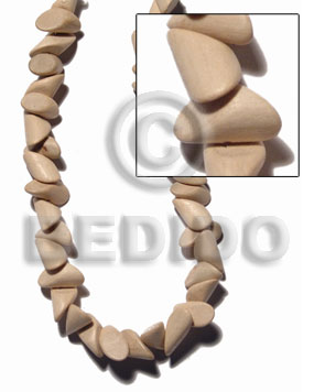 """nat. white wood""  pointed nuggets 10mmx20mm  / 29 pcs. per 16 in. str. - Wood Beads"