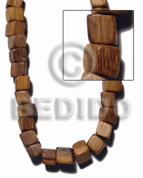"""robles"" slide cube 12mmx12mm Wood Beads"