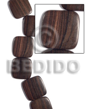 35mmx35mmx5mm square  round edges camagong tiger face to face / 12 pcs. / side strand hole - Wood Beads