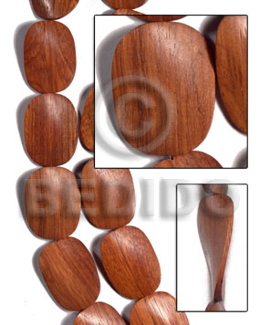 30mmx40mmx6mm redwood / sibucao twisted / 10 pcs - Wood Beads