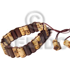 Bamboonatural brown weave burning Wood Bracelets