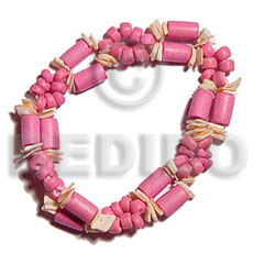 2 rows pink wood tube Wood Bracelets