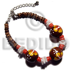 4-5mm coco Pokalet. nat. brown  handpainted 15mm robles round wood beads & white rose shell accent / yellow flower - Wood Bracelets