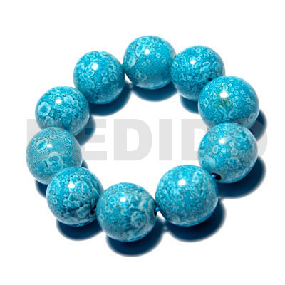 10 pcs. of 20mm round wood beads in high polished paint gloss mableized aqua blue green combination / elastic bracelet - Wood Bracelets