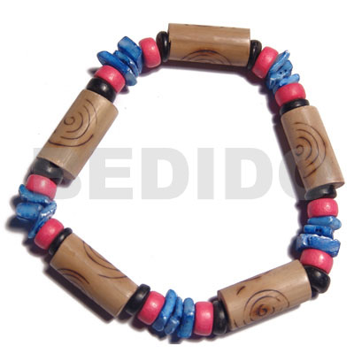 bamboo tubes  burning  blue white rose shell, reddish pink/black 7-8mm coco Pokalet combination / elastic bracelet - Wood Bracelets