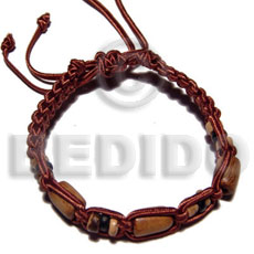 tube wood beads in macrame satin cord - Wood Bracelets