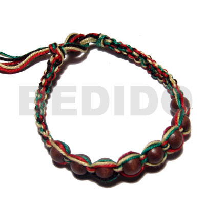 Round wood beads in macrame Wood Bracelets
