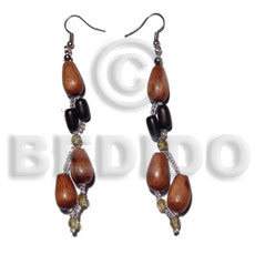 Dangling bayong teardrop Wood Earrings