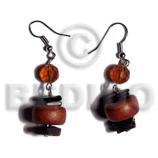 hand made Dangling 15mmx8mm disc robles wood Wood Earrings