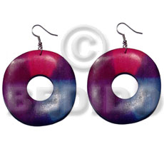 Dangling 35mm round wavy wood Wood Earrings