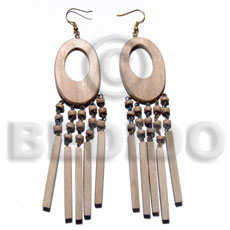 dangling 45mmx30mm oval ambabawod wood  22mmx15mm inner hole and dangling 40mm 5pcs. 4 sided flat wood sticks /  clear matte coat finish - Wood Earrings