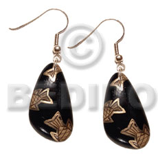 dangling 40mmx28mm nat. wood in black , handpainted  metallic gold fish accent - Wood Earrings