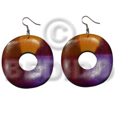 dangling 35mm round wavy wood ring  15mm inner hole - Wood Earrings