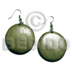dangling round 32mm nat. wood in olive green  clear semi gloss protective topcoat - Wood Earrings