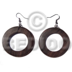 Dangling camagong tiger round ring Wood Earrings