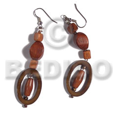 dangling 30mmx20mm oval laminated golden amber kabibe shell rings  wood beads accent - Wood Earrings