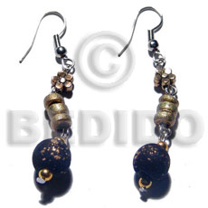 Dangling wood beads and 4-5mm Wood Earrings
