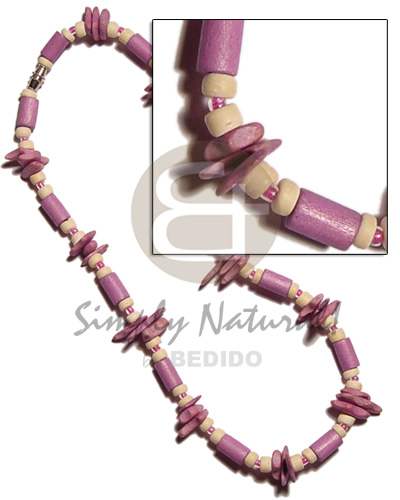 Lilac wood tube matching Wood Necklace