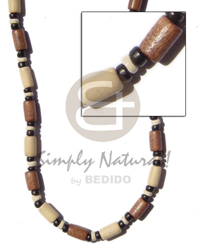 Tan bleach wood tube Wood Necklace