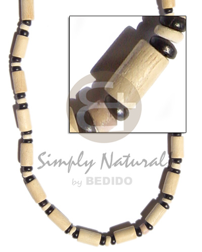 Natural white wood tube Wood Necklace